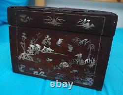 Rare Antique Large Chinese Vietnamese Mother of Pearl Inlay Wooden Box Landscape