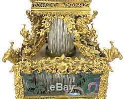 Rare Large Chinese Ormolu Bronze Paste Jeweled Automaton Musical Bracket Clock