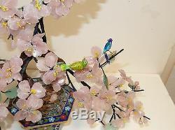 Rare Large Cloisonne Enamel Rose Quartz Jade Stone Blossom Tree With Birds