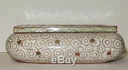 Rare Large Fabienne Jouvin Cloisonne Art Deco Design Enamel Bowl Humidor Jar Box