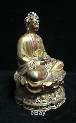 Rare Large Heavy Old Chinese Gilt Bronze Shakyamuni Buddha Statue Sculpture