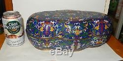 Rare Large Old Chinese Cloisonne Enamel Bats Design Bowl Jar Box