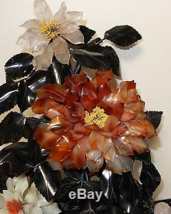 Rare Large Vintage Cloisonne Enamel Jade Flower Blossom 20 High Tree