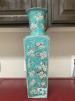 Rare Large antique Chinese green ground famille verte Square vase