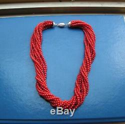 Rare Red Dark Sardinia Italy Coral Necklace Large Round Beads 19th C. Ball 4mm