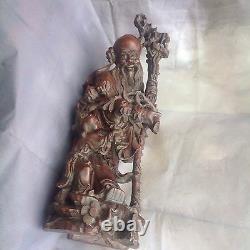 Spectacular Large Antique Chinese Wood Statue 2ft God Longevity Shou Lao