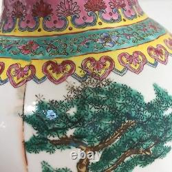 TALL LARGE 19th C. Chinese Famille large 24 Floor Vase pinks greens