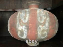 Two Large Antique Chinese Painted Silkworm Shaped Clay Pottery Vases, Han Dynasty