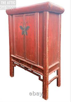 V Large Antique Red Chinese Oriental Wedding Cabinet, Storage Cupboard Drawers