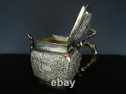 Very Beautiful Large Chinese Export Silver Teapot-Bamboo-19th C. WANGHING Mark