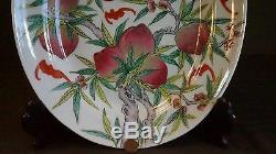 Very Fine Large Chinese Republic Period Famille Rose Plate Depicting Peaches Bat