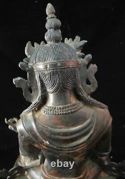 Very Large Antique Chinese Bronze GuanYin Buddha Statue Marked YongLe Period