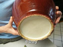 Very large Chinese porcelain sang de boeuf ox blood vase 19th C 17.4 high