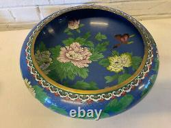 Vintage Antique Chinese Large Cloisonne Bowl with Floral & Butterfly Decoration
