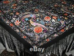 Vintage Edwardian Chinese Silk Embroidery Shawl Large Outstanding
