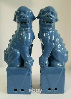 Vintage Foo Dogs Figurine Set 13 Blue Ceramic Chinese guardian Lion Pair Large