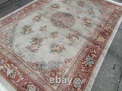 Vintage Hand Made Art Deco Chinese Carpet Beige Wool Large Rug Carpet 250x170cm