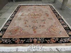 Vintage Hand Made Art Deco Chinese Carpet Beige Wool Large Rug Carpet 345x260cm