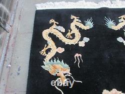 Vintage Hand Made Art Deco Chinese Carpet Black Wool Large Rug 247x154cm Dargon