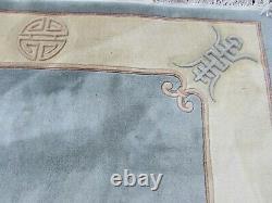 Vintage Hand Made Art Deco Chinese Carpet Blue Wool Large Rug Carpet 275x179cm