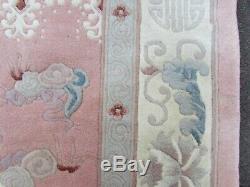 Vintage Hand Made Art Deco Chinese Carpet Pink Wool Large Rug Carpet 245x170cm