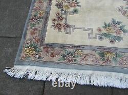 Vintage Hand Made Art Deco Chinese Carpet White Wool Large Rug Carpet 275x185cm