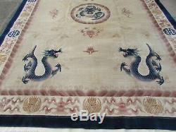 Vintage Hand Made Art Deco Chinese Oriental Beige Wool Large Carpet 367x269cm