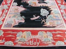 Vintage Hand Made Art Deco Chinese Oriental Black Wool Large Carpet 488x305cm