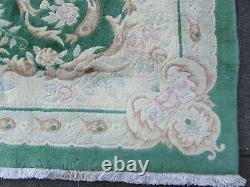 Vintage Hand Made Art Deco Chinese Oriental Green Wool Large Carpet 338x248cm