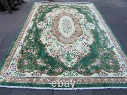 Vintage Hand Made Art Deco Chinese Oriental Green Wool Large Carpet 340x245cm