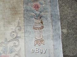 Vintage Hand Made Art Deco Chinese Oriental Silk Blue Large Carpet 356x268cm
