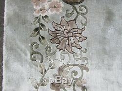 Vintage Hand Made Art Deco Chinese Oriental Silk Green Large Carpet 370x273cm