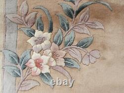 Vintage Hand Made Art Deco Chinese Pink Beige Wool Large Carpet 305x245cm