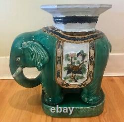 Vintage Large 1960s Vietnamese Ceramic Elephant Plant Stand / Side Table