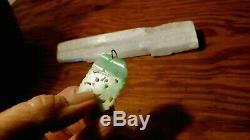 Vintage Large Jadeite Jade Carved Pendant 14k Bail