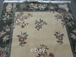 Vintage Machine Made Traditional Oriental Wool Beige Green Large Rug 240x175cm