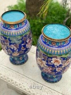 Vintage Oriental Large Cloisonné Vases With Flowers / Antique Chinese
