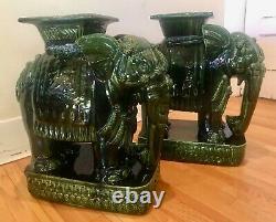 Vintage Pair 1960s Large Emerald Green Ceramic Elephant Plant Sand / Side Table