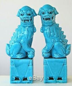 Vintage chinese turquoise very large pair of foo lion temple dogs 30cm 12ins