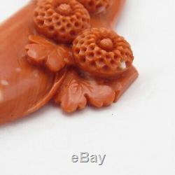 Vtg Antique LARGE 2.75 Chinese Dark Pink Carved Flower Momo Coral Brooch Pin