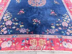 Worn Antique Hand Made Art Deco Chinese Blue Red Wool Large Carpet 350x277cm