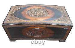 X Large Fantastic Antique Vintage Oriental Chinese Camphor Wood Chest Trunk, Box