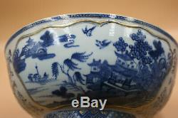 11 Grand 18 C. Antique Porcelaine Chinoise Bleue Et Blanche Avec Gilt Peint Bowl
