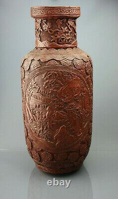 1736-1795 Grand Vase Chinois Cinnabar Lacquer Qianlong Period Antique Rouleau