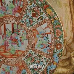 18.5 Grand Antique Porcelaine Chinoise Famille Rose Canton Plateau 18.5 Diamètre