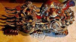 18c Antique Chinese Bois Sculpté Grand Temple Foo-lion Withbaby Lion Statue