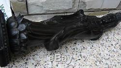 18c Antique Chinois Grand Bois D'ebène Sculpté À La Main Quan-yin Statue