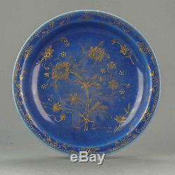 18c Kangxi Grand 26.8cm Doré Poudre Bleu Plaque Fleurs Antiques