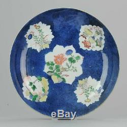 18c Kangxi Grand 27cm Gilt Poudre Blue Plate Famille Verte Marqué Encens