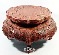 18ème C. Grande Table De Cinnabar En Laque Chinoise Antique Grande Vase Bois En Bois